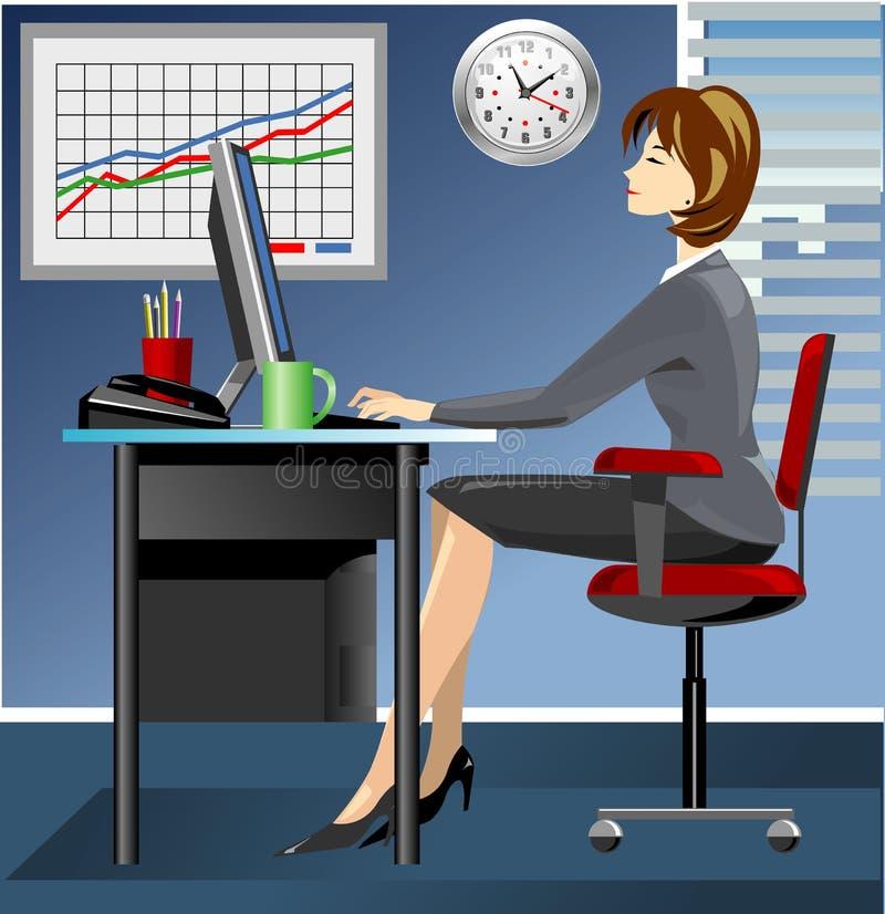Geschäftsfrau im Büro, das an Computer arbeitet vektor abbildung