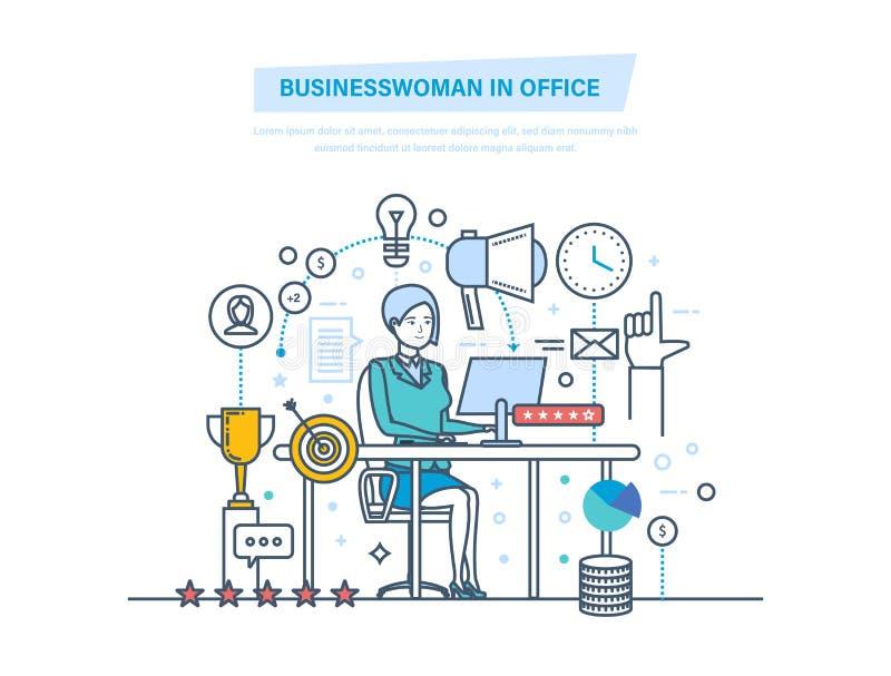 Geschäftsfrau im Büro Frauen, die im Büro am Arbeitsschreibtisch arbeiten lizenzfreie abbildung