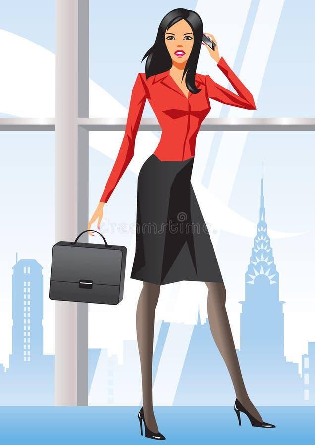 Geschäftsfrau im Büro in New York lizenzfreie abbildung