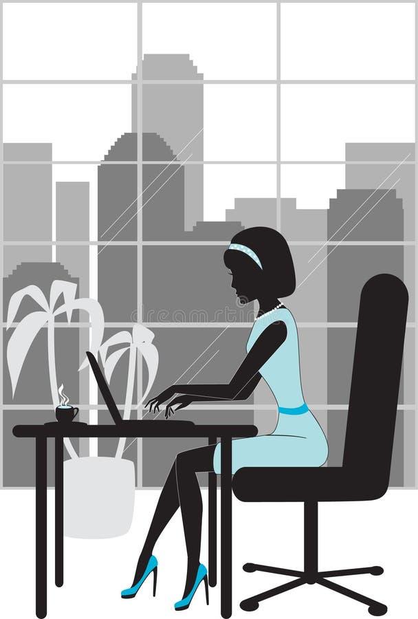 Geschäftsfrau im Büroschattenbild stock abbildung