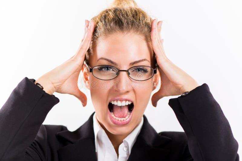 Geschäftsfrau im Druck lizenzfreie stockbilder