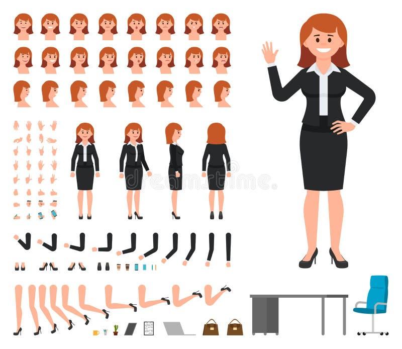 Geschäftsfrau im schwarzen Anzugscharakter-Schaffungssatz Vektorkarikaturartmädchen-Bürovorstehererbauer lizenzfreie abbildung