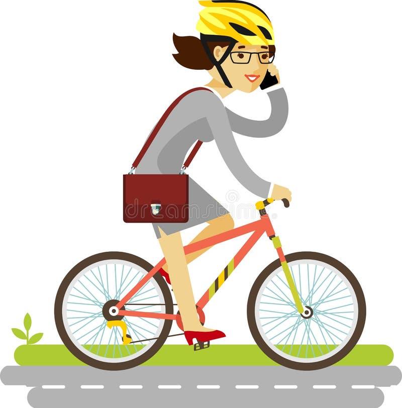 Geschäftsfrau im Sturzhelm, der ein Fahrrad an lokalisiert reitet stock abbildung