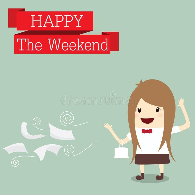 Geschäftsfrau ist gehen zum Einkauf, der sich entspannen glücklich ist am Wochenende, Zeit vektor abbildung