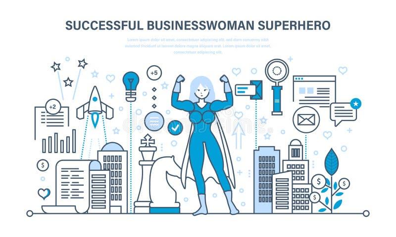 Geschäftsfrau ist Superheld, in der Geschäftskleidung auf Hintergrund der Stadt stock abbildung