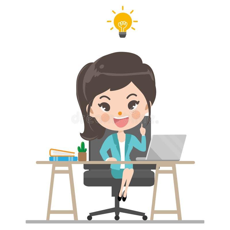 Geschäftsfrau kann Idee für Arbeit denken lizenzfreie abbildung