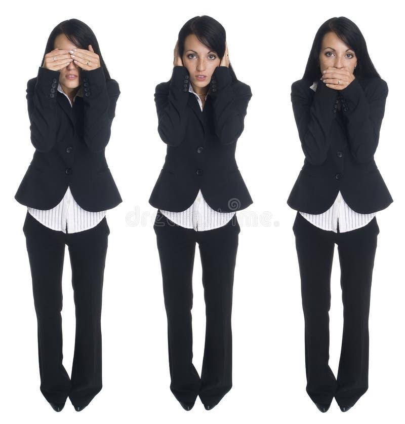 Geschäftsfrau - kein Übel stockfotografie
