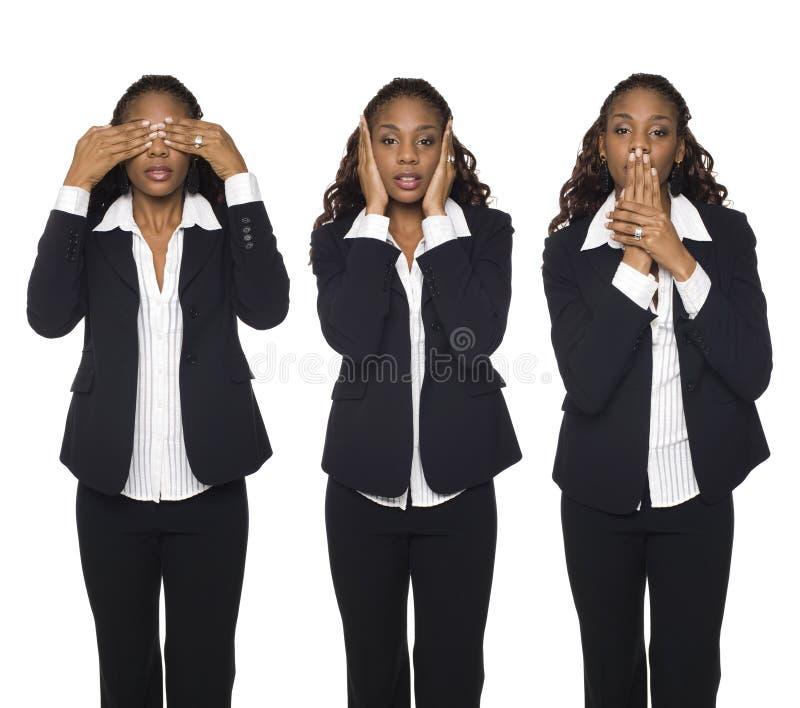 Geschäftsfrau - kein Übel lizenzfreie stockfotografie