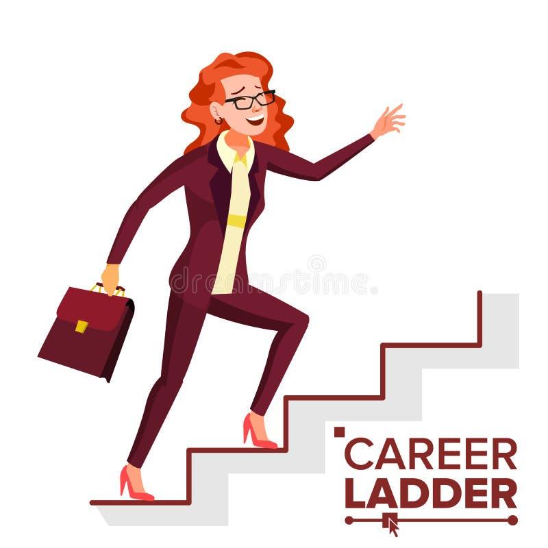 Geschäftsfrau-kletternder Karriere-Leiter-Vektor Schnelles Wachstum Treppe Joberfolgskonzept Schritt für Schritt Lokalisierte Kar vektor abbildung