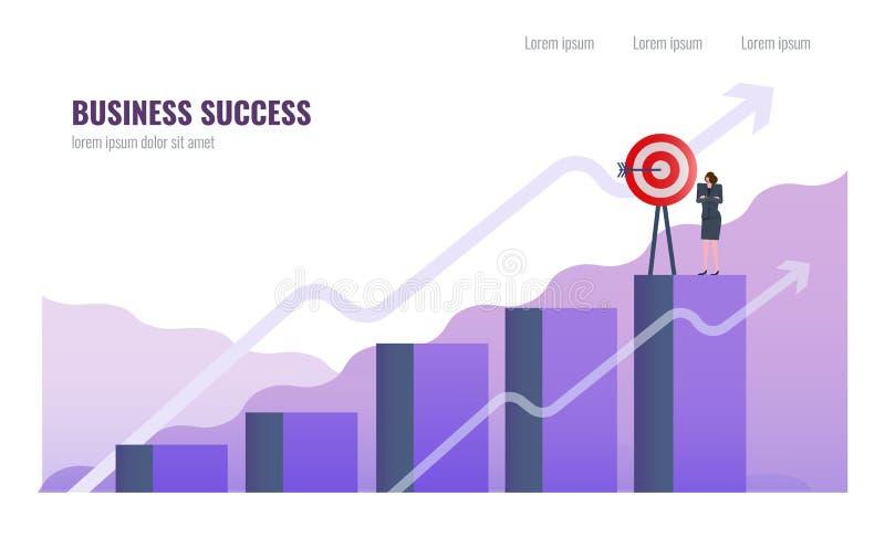 Geschäftsfrau komplettes Unternehmensziel auf die Oberseite des Diagramms lizenzfreie abbildung