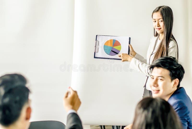 Geschäftsfrau-Konferenzdarstellung mit Teamtraining stockfotos