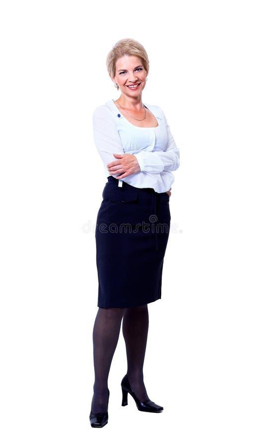 Geschäftsfrau. Lokalisiert über Weiß lizenzfreie stockfotografie