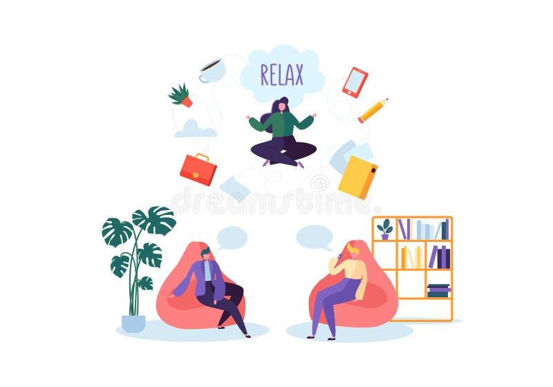 Geschäftsfrau Meditating auf stressiger Büro-Arbeit Geschäfts-Charaktere, die auf Kaffeepause sich entspannen Meditations-Yoga-Ko stock abbildung