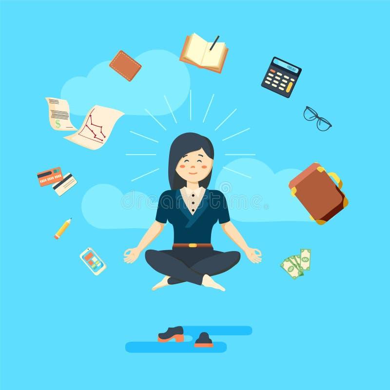 Geschäftsfrau in meditierender Position auf blauem Hintergrund vektor abbildung