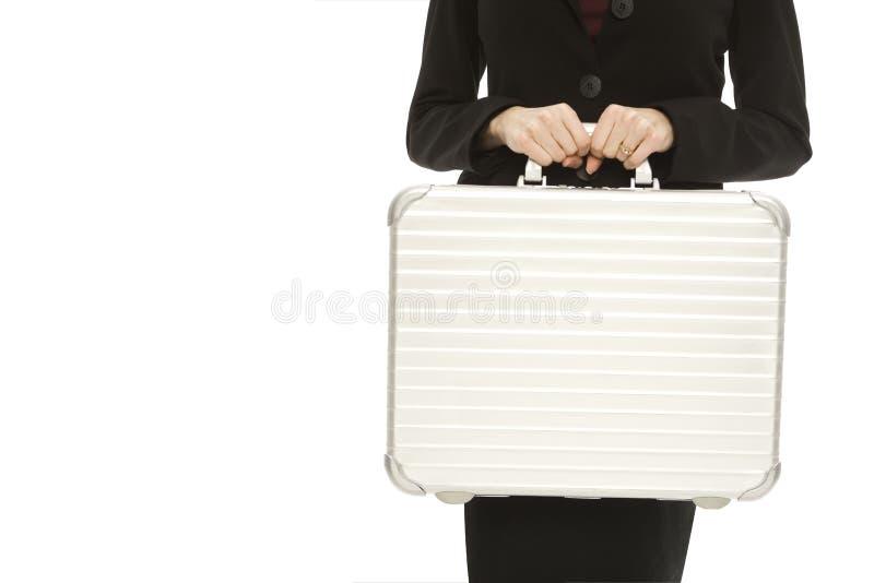 Geschäftsfrau mit Aktenkoffer lizenzfreie stockbilder