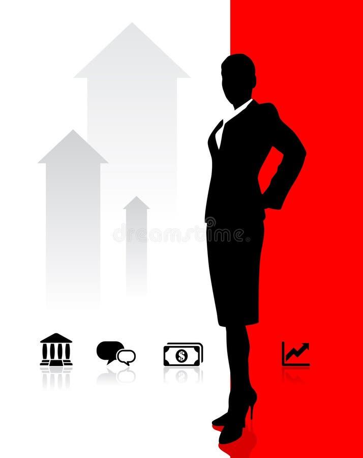 Geschäftsfrau mit Bankverkehr und Finanzikonen lizenzfreie abbildung