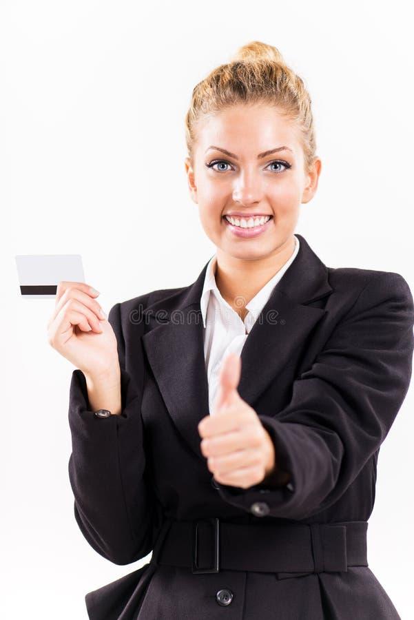 Geschäftsfrau mit Bestandskarte stockbilder