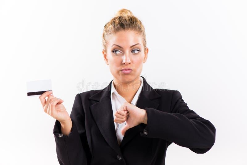 Geschäftsfrau mit Bestandskarte lizenzfreies stockbild
