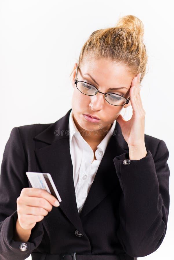 Geschäftsfrau mit Bestandskarte stockfotografie
