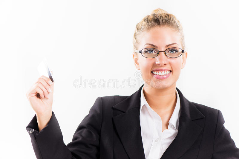 Geschäftsfrau mit Bestandskarte lizenzfreie stockbilder