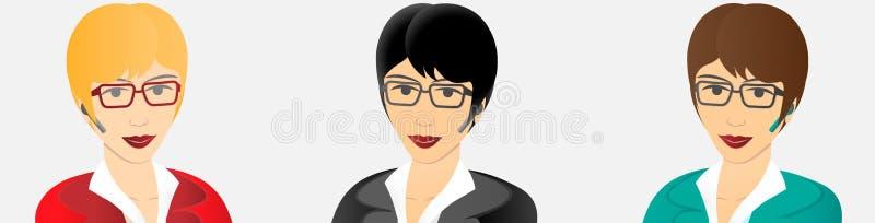 Geschäftsfrau mit bluetooth freihändigem Gerät stock abbildung
