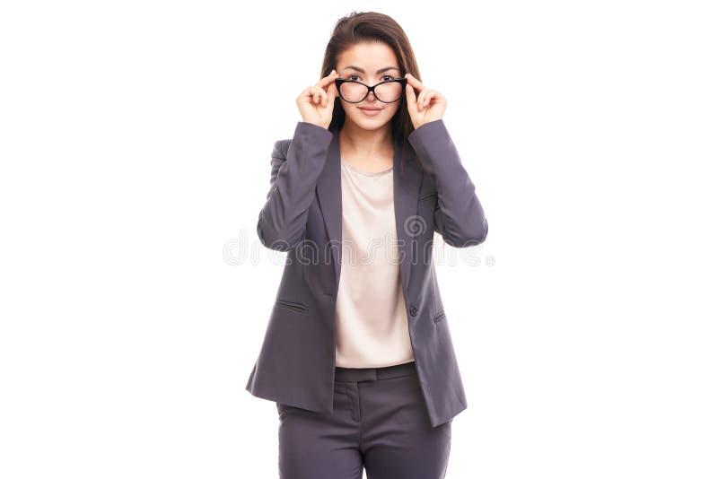 Geschäftsfrau mit Brillen stockbilder