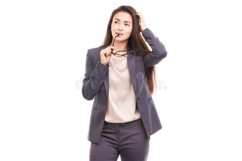 Geschäftsfrau mit Brillen stockfotografie