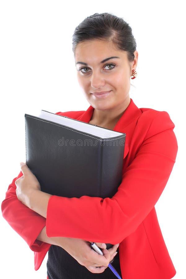 Geschäftsfrau mit Buch lizenzfreie stockfotos