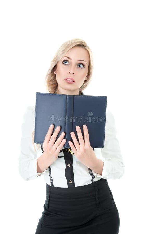 Geschäftsfrau mit Buch lizenzfreies stockfoto