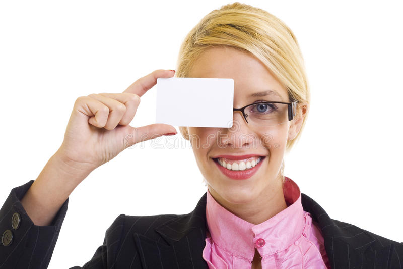 Geschäftsfrau mit businesscard lizenzfreies stockbild