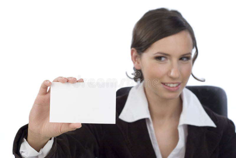 Geschäftsfrau mit businesscard stockbilder
