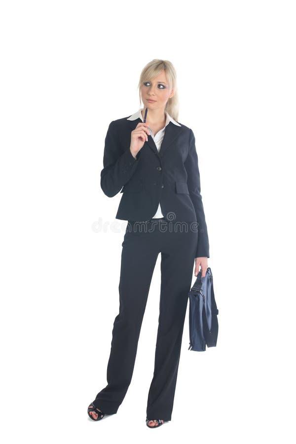Geschäftsfrau mit dem Aktenkoffer stockbild