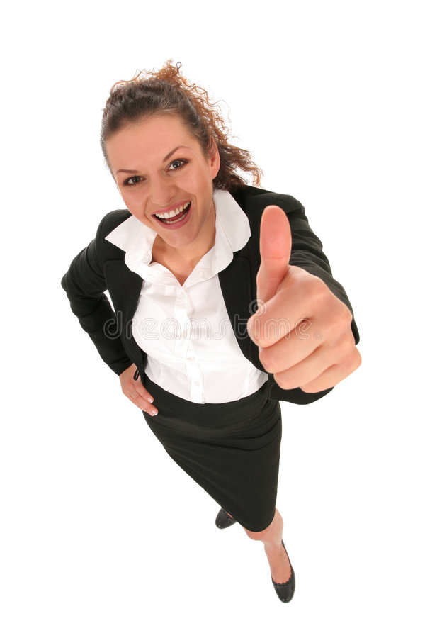 Geschäftsfrau mit dem Daumen oben lizenzfreie stockfotografie
