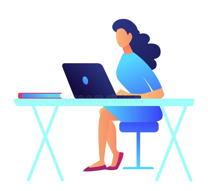 Geschäftsfrau mit dem dunklen Haar, das an Laptopvektorillustration arbeitet vektor abbildung