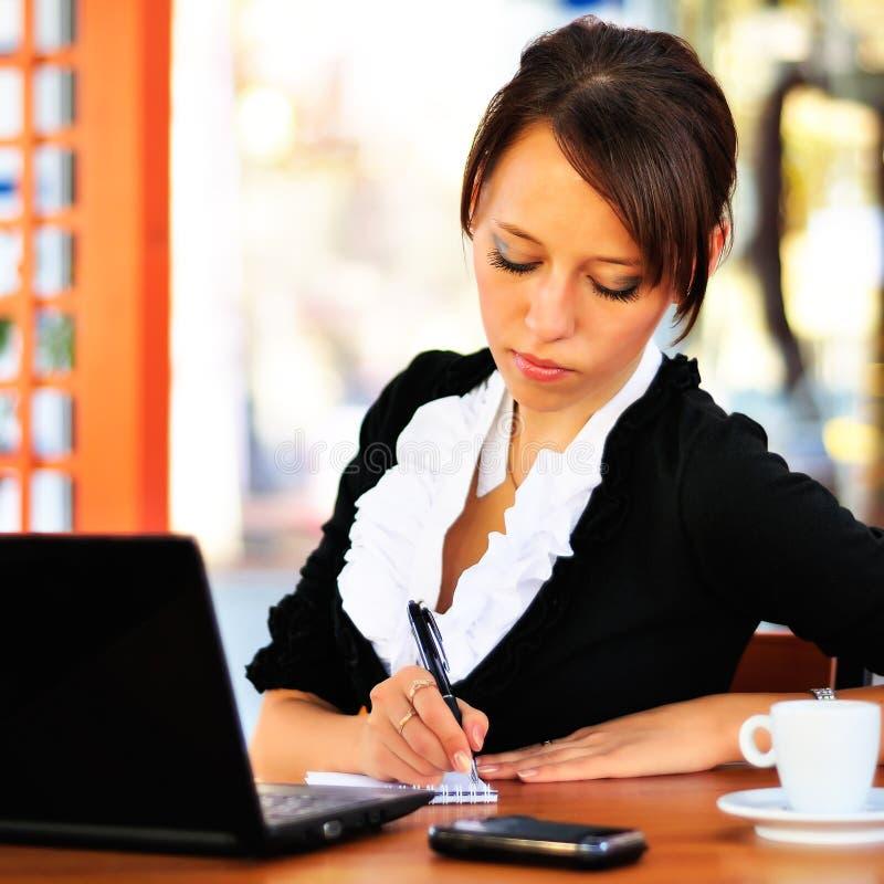 Geschäftsfrau mit dem Laptop, der einige Anmerkungen bildet lizenzfreie stockfotografie