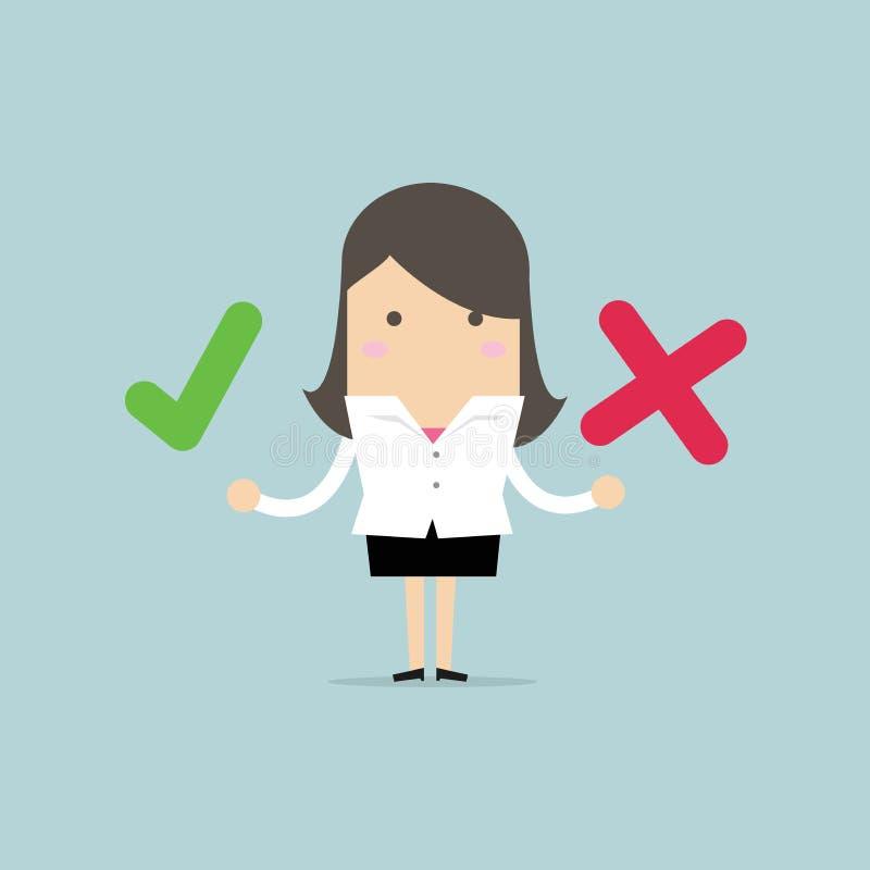 Geschäftsfrau mit den rechten und falschen Zeichen vektor abbildung