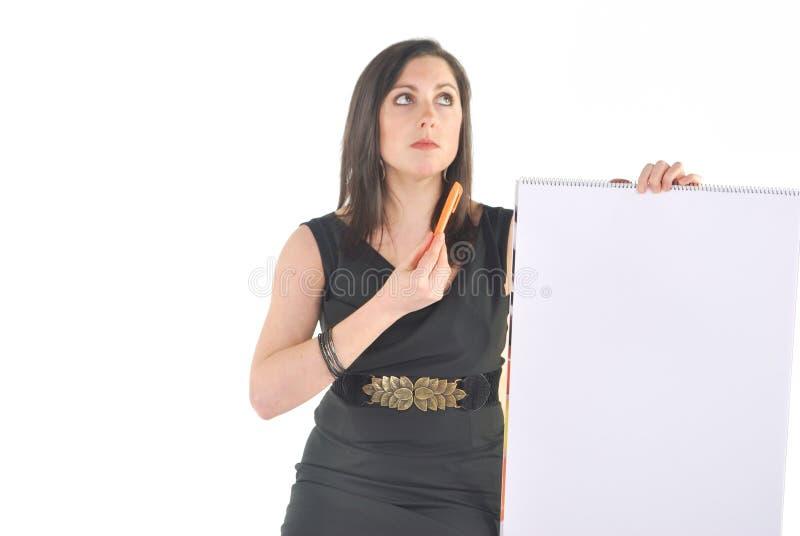 Geschäftsfrau mit der Flip-Chart, die verwirrt schaut stockfotos