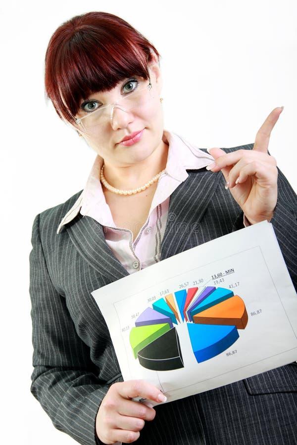 Geschäftsfrau mit Diagramm stockfotografie