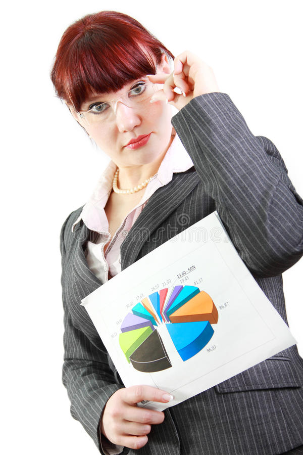 Geschäftsfrau mit Diagramm stockfotos