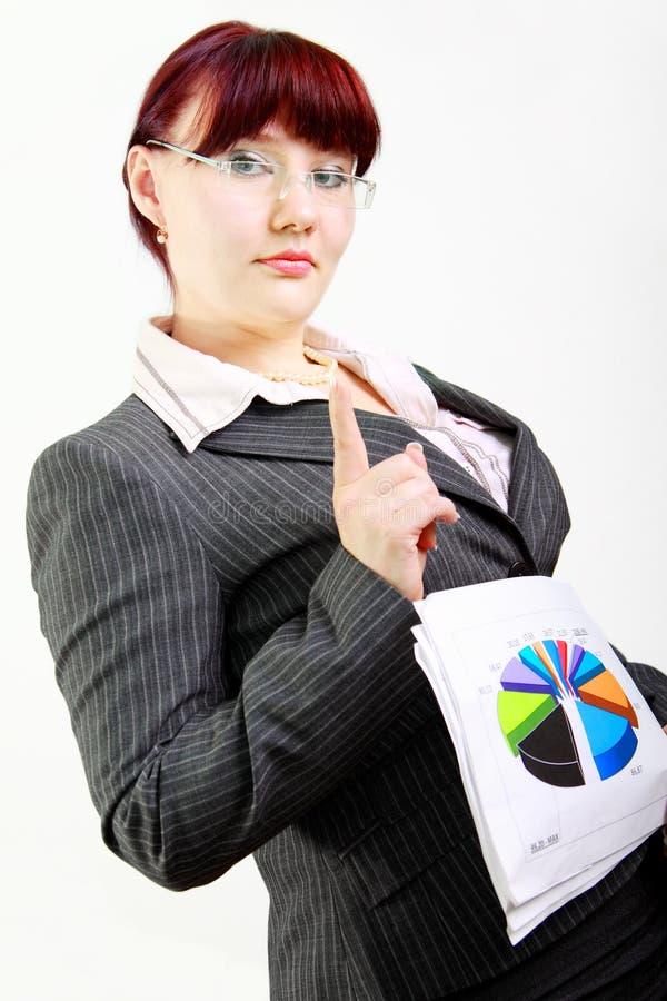 Geschäftsfrau mit Diagramm lizenzfreie stockbilder