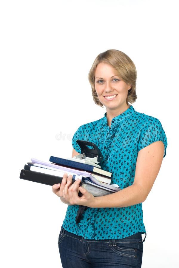 Geschäftsfrau mit Dokumenten stockbild