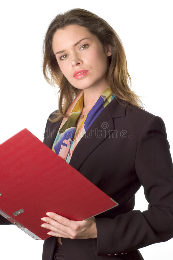 Geschäftsfrau mit Dokumenten stockfotos