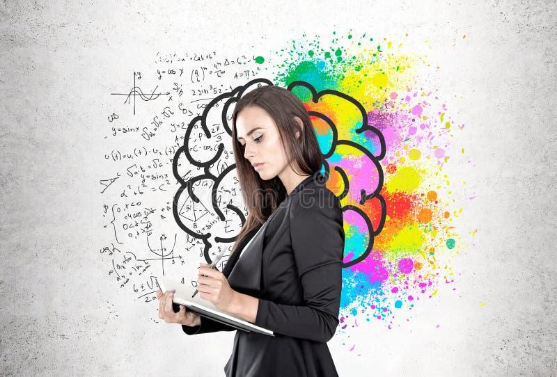 Geschäftsfrau mit einem Planer, Gehirnformeln stockbild