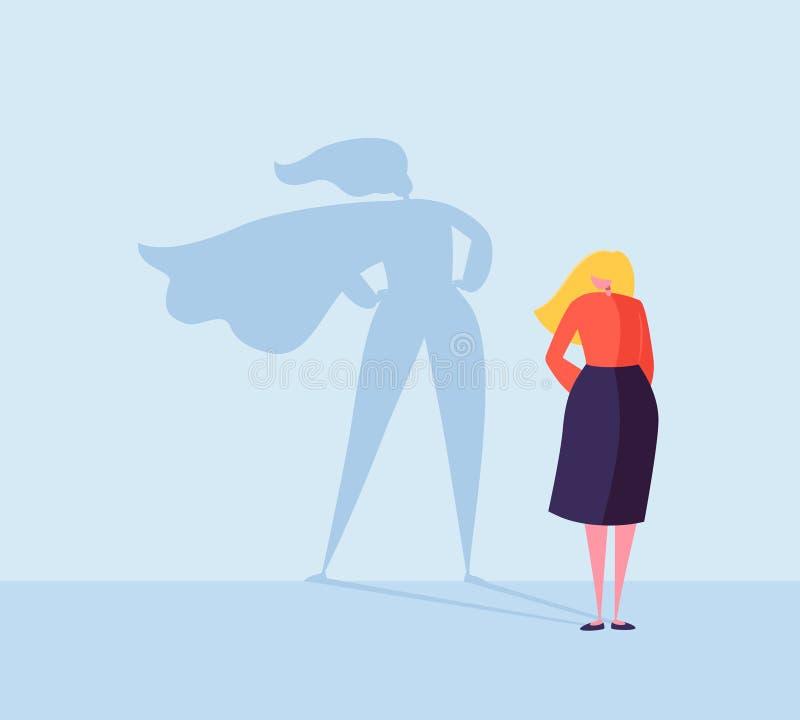 Geschäftsfrau mit einem Superheld-Schatten Weibliche Figur mit Kap-Schattenbild Geschäftsfrau Leadership Motivation stock abbildung