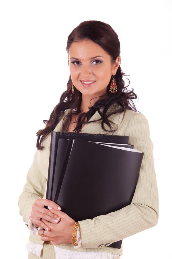 Geschäftsfrau mit Faltblättern der Dokumente stockbild
