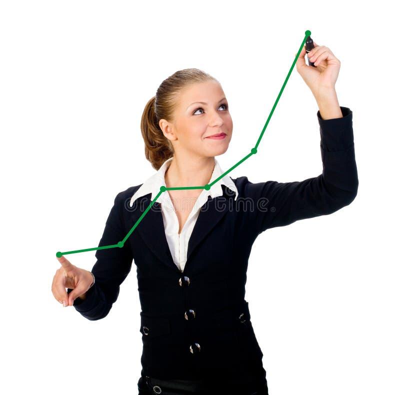 Geschäftsfrau mit Feder auf dem Bildschirm. Getrennt stockfoto