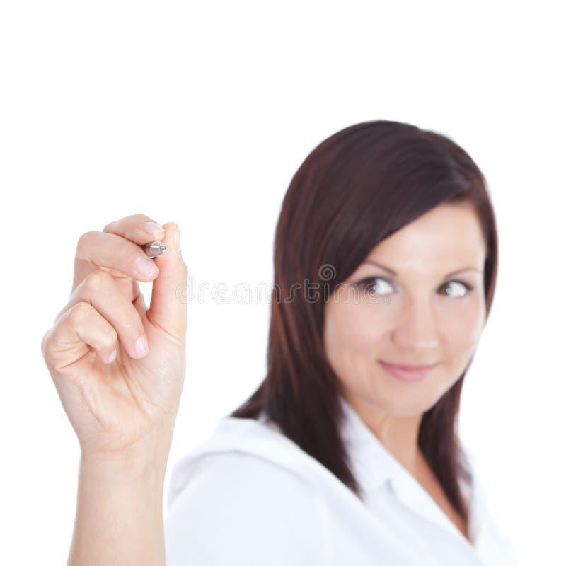 Geschäftsfrau mit Federschreiben auf dem Bildschirm stockfotos