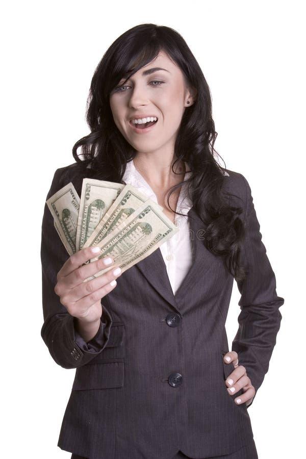 Geschäftsfrau mit Geld lizenzfreie stockfotografie