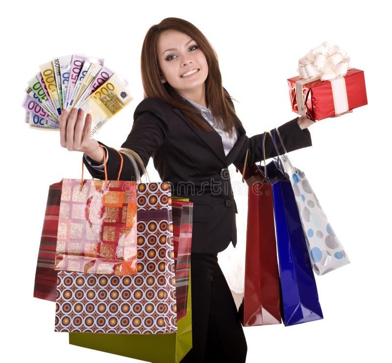 Geschäftsfrau mit Geld, Geschenkkasten und Beutel. stockfotos