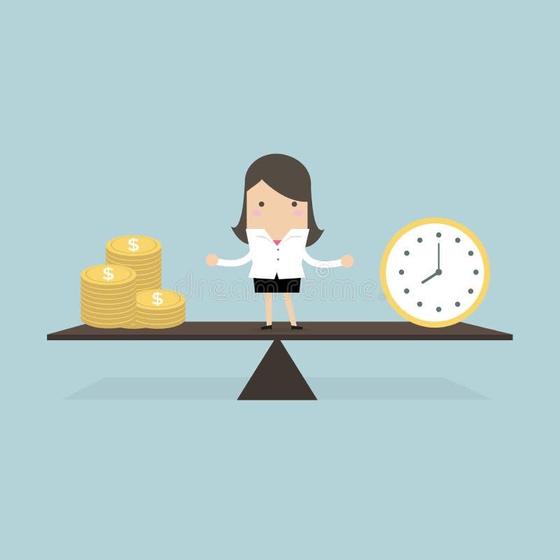 Geschäftsfrau mit Geld und Zeitbalancenkonzept stock abbildung